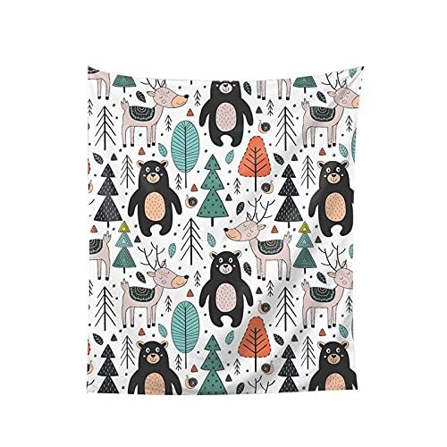 Tapiz para colgar en la pared, diseño de oso de ciervo, caracol y hojas de árbol, dibujos animados, bosque, manta de pared impresa, arte de pared, decoración del hogar, 152 x
