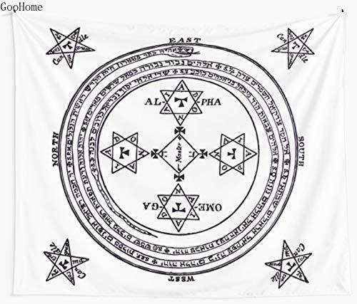 JXWR Tapiz de Pared Grande mágico del Rey Salomón, Manta de Playa, Manta de Picnic, Estera de Yoga, decoración del hogar, 130X150CM