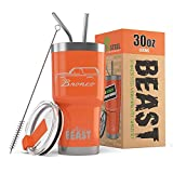 1987-91 Ford Bronco Truck BEAST 30 oz Stainless Steel Insulated Tumbler w/Lid, 2 Straws, Brush and Gift Box orange