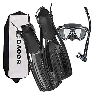Dacor Scuba Mask Fin Snorkel Package (Black, Medium)