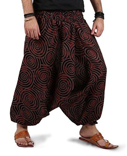 THE HAREM STUDIO Haremshose Herren Damen Aladinhose Alternative Kleidung Pumphose Shalwar Hose Aladinhose Goa Hose - Spiral Stil (Braun)
