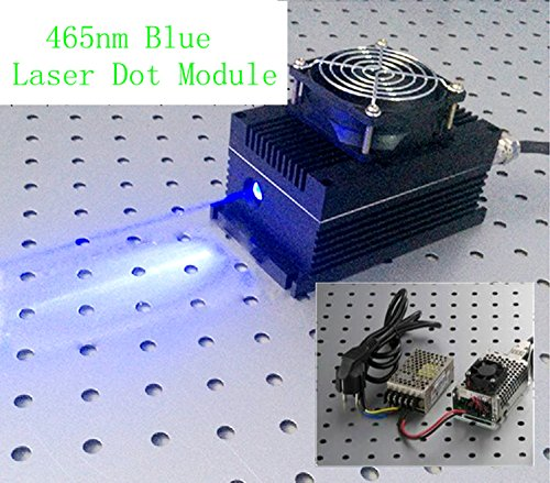 Industry/Lab High Power 465nm 5W 5000mW Blue Laser Dot Module + Analog 0-30KHZ + TEC Cooling 85-265V + OEM type Power Supply LSR-PS-I