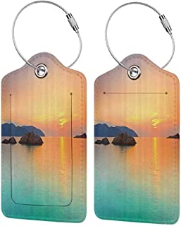 Small luggage tag Seaside Decor Collection Magical Sunrise Over the Sea in Con Dao Vietnam Colorful Sky Reflection on Sea Horizon View Quickly find the suitcase Orange Teal W2.7