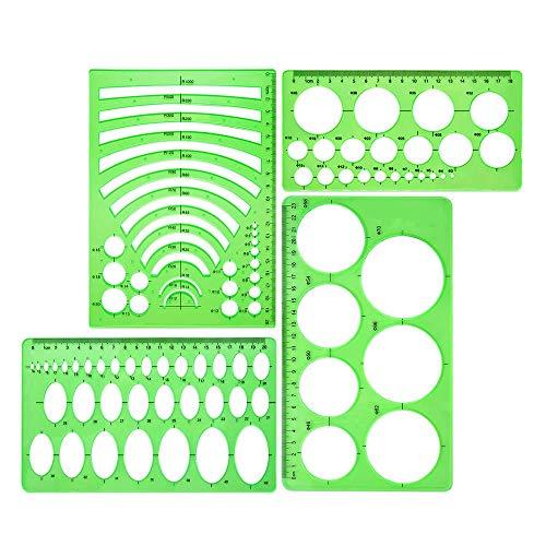 Wivarra 4-Teilige Vorlage Kunststofflineale Kreis Ovaler Kreis Radius Zeichnungsvorlagen für Büro- und Schulbedarf Sauberes Grün