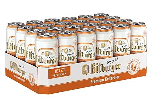 Bitburger Kellerbier 24 x 0,5l Dose – Internationales Bier nach deutschem Reinheitsgebot – inkl. 6 Euro DPG Pfand EINWEG