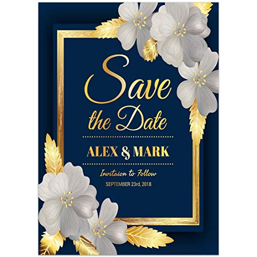 Blue and Gold Save the Date Card Wedding Invitation