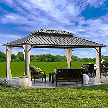 Outdoor Patio Hardtop Gazebo with Mosquito Netting,Galvanized Steel Double Roof Canopy Gazebo,Aluminum Frame for Patio,Garden,Backyard ,Lawn and Deck,Black 10x12ft