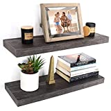 Under.Stated Wall Hanging Shelf Set Floating Shelving for Bedroom Living Room Kitchen Storage, 24' Rustic Espresso