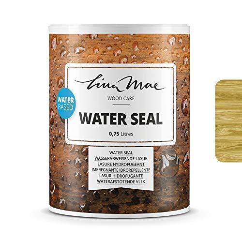 Lasure Hydrofugeant (Vernis) avec Finition Satinée à l'eau - Protecteur Imperméable qui Repousse l'eau avec Effet Perlé. Idéal pour le Bois: Meubles, Tables, Chaises et Pergolas (750 ml, Pin)