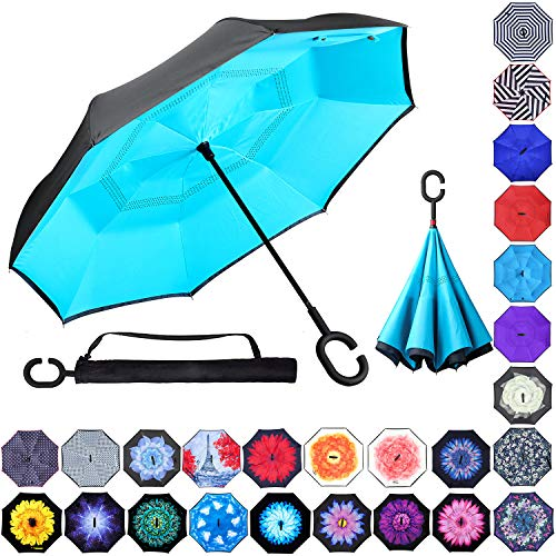 Lilo Stitch Car Reverse Umbrella With C-Shaped Handle UV Protection Inverted Folding Umbrellas Windproof And Rainproof Double Folding Inverted Umbrella