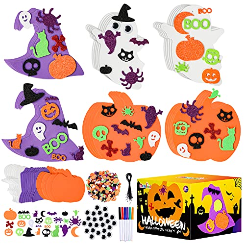 Max Fun 302PCS Halloween Foam Stickers Set, Pumpkin Ghost Witch Hat Halloween Decorations for Kids Crafts Party Favors Supplies Halloween Craft Kits for Kids