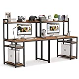 Tribesigns 94.5 inches Computer Desk with Hutch, Extra Long Two Person Desk with Storage Shelves, Double Workstation Office Desk Table Study Writing Desk for Home Office (Dark Walnut)