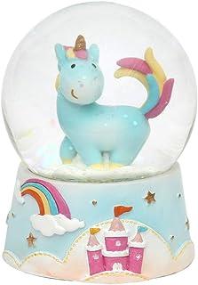 Bola de nieve de decoración con unicornio,  tamaño y color a elegir en el menú desplegable, Kugel Ø 6,5 cm, Blaues Einhorn