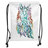 Drawstring Backpacks Bags,<span class='highlight'>Owl</span>s Home Decor,<span class='highlight'>Owl</span> with Fluffy Swollen Colorful Fea<span class='highlight'>the</span>rs Large Eyes Vision <span class='highlight'>Sage</span> Camouflage Character Image,Multi Soft Satin,5 Liter Capacity,Adjustable S