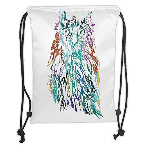 Drawstring Backpacks Bags,Owls Home Decor,Owl with Fluffy Swollen Colorful Feathers Large Eyes Vision Sage Camouflage Character Image,Multi Soft Satin,5 Liter Capacity,Adjustable S