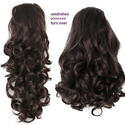PRETTYSHOP 2 IN 1 Haarteil Pferdeschwanz Zopf Haarverlängerung Haarverdichtung ca 40cm und 50 cm dunkelbraun #6 H20-2