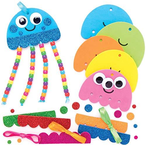 """Baker Ross Anhänger-Bastelsets """"Qualle"""" mit Perlen, für Kunst- und Bastelprojekte für Kinder (5 Stück)"""