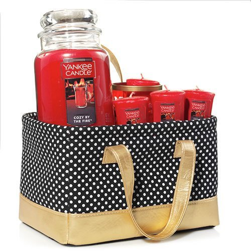 Yankee Candle Cozy by The Fire Polka Dot Tote Christmas Gift...