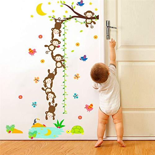 PISKLIU Muurstickers aap vissen de maan groeiplanken wandsticker voor kinderen kamers dieren hoogte schaal wanddecoratie DIY PVC