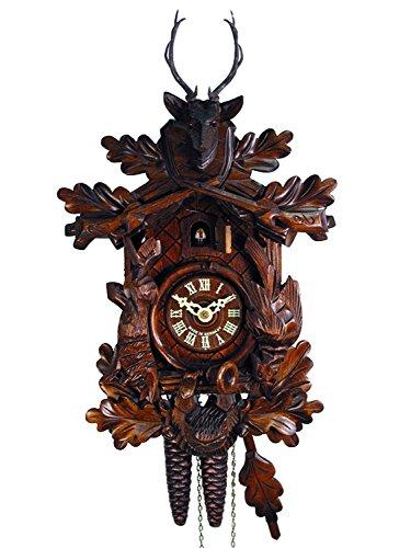 Reloj de cuco de la Selva Negra (original, certificado), pieza de caza, cabeza de ciervo, cornamenta, cazador, cuerno de 1 día, mecánico