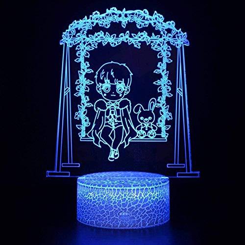 Luz de noche ilusión 3D luz de humor para niños control remoto de 7 colores y luz de regalo de vacaciones con botón táctil - Cartoon Anime boy