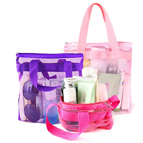 Portable Mesh Shower Caddy Tote, Quick Dry Tote Bag Mesh Beach Bags for Women, Hanging Toiletry and Bath Organizer for Travel Swimming Sports Gym Camp Shopping College Dorms (Pink Purple Rose Red)