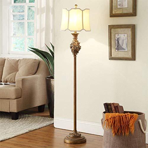 DXX-HR Lámpara de pie Europeo Refrescante de Estar Sala de Estudio Luces del Dormitorio Tallado Americana Creativa Lámpara de pie / E27 (Oro Retro)