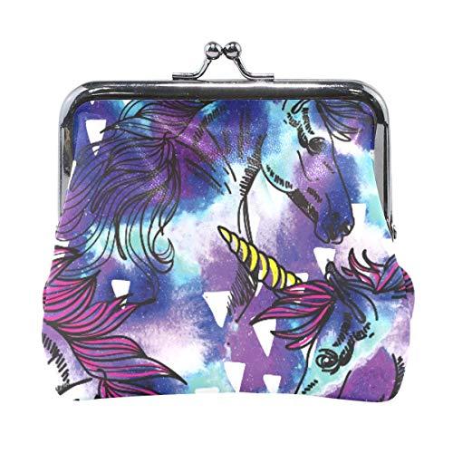 Galaxy Unicorn Pattern Purple Coin Purse Broche de Bolsa para Mujeres niñas Monedero de Cuero con Hebilla de Billetera