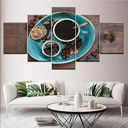Meaosy Canvas, koffiebonenpatroon, chocolade, 5-delig, muurkunst, modulaire achtergrondfoto, bedrukt, voor woonkamer, decoratie 30x40/60/80cm (12x16/24/32inch)