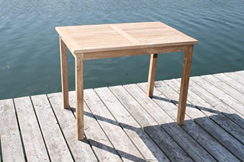 LINDER EXCLUSIV Echt Teak Tisch Gartentisch Teaktisch 150 x 90 x 75 cm