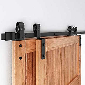 EaseLife 8FT Bypass Double Sliding Barn Door Hardware Kit,Single Track Fit Double 48  Wide Door  8FT Track Bypass Kit