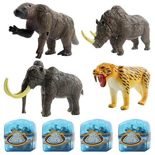 Vokodo Prehistoric Set With 4 Ice Age Animals In Glacier Cubes Kids Archaeology 3D Puzzle Take Apart Discover Fossils Science STEM Educational Dig Up Easter Egg Party Toy Great Gift For Boys And Girls