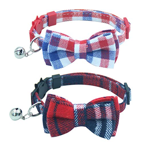 OFPUPPY Cute Bowtie Cat Collar Breakaway with Bell 2 Pack Plaid...
