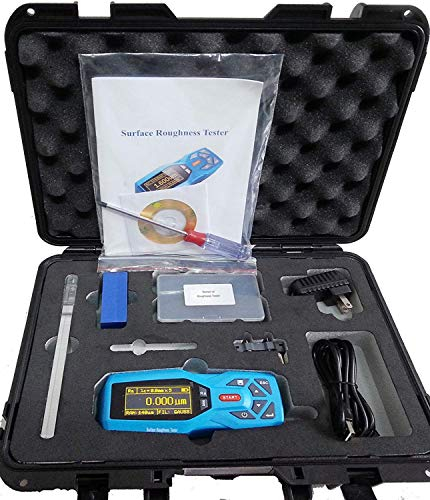 VTSYIQI KR220 20 Parameters Handheld Digital Surface Roughness Tester Meter Portable Surface Profilometer Profile Gauge Instruments Surftest with Range Ra Rz Real-time Clock Settings and Display, Blue