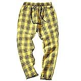 KKLLHSH Otoño Hombres Pantalones a Cuadros Pantalones Casuales Hombre Algodón Slim Fit Hombres Skinny Grid Joggers-Yellow_3XL