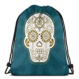 Yuanmeiju Día De Muertos Calavera • Mexican Sugar Skull Teal & Bronze Palette Drawstring Backpack Bag Lightweight Gym Travel Yoga Casual Snackpack Shoulder Bag for Hiking Swimming Beach