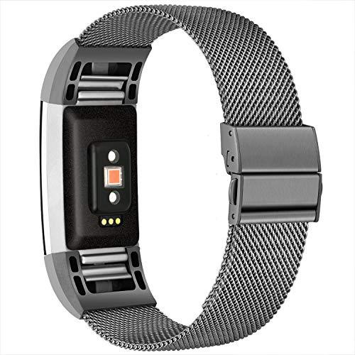 TECOOL Armbänder Kompatibel mit Fitbit Charge 2, Metall Edelstahl Ersatzarmband Atmungsaktiv Komfortable und Verstellbare Fitness Armband für Fitbit Charge 2 für Herren Damen, Klein