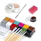 CCbeauty 12 Color Face Paint (5.64Oz),Stage Special Effects Kit Wound Scar Wax (1.6Oz) + Fake Scab Blood (0.63Oz) + Spatula + 6 Wooden Brushes + 1 Stipple Sponge