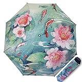 Paraguas de Sol para Las Mujeres Protección UV Paraguas Plegables triples Creativo 3D Impreso Flores Sombrilla Señoras Pegamento de Plata 190T 8 Huesos Sombrillas Regalos empresariales (Azul)