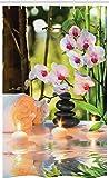 ABAKUHAUS Spa Schmaler Duschvorhang, Kerzen Orchideen Relax Foto, Badezimmer Deko Set aus Stoff mit Haken, 120 x 180 cm, Mehrfarbig