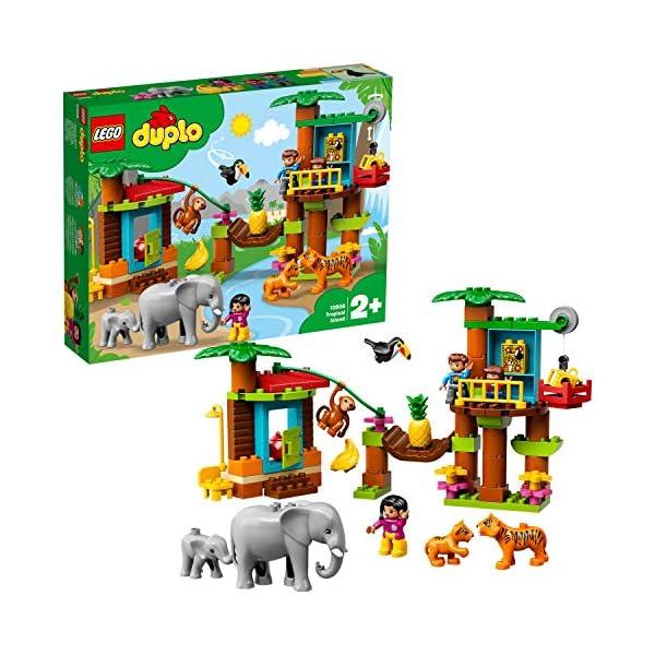 LEGO 10906 Duplo IslaTropical, Juguete de Construcción Educativo Casa de Árbol con Animales Salvajes y Mini Figuras