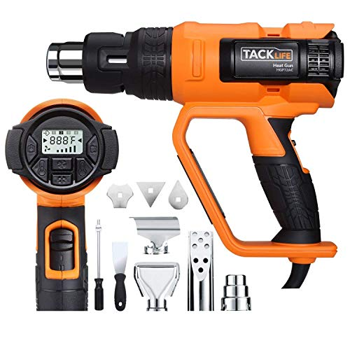 Professional Heat Gun, Tacklife 122°F ~1202℉(50℃ ~650℃) Heavy Duty Hot Air Gun with LCD Screen Display, 2 Temp Settings, 4 Memory Settings, 5 Air Flow Adjustment and 9 Pcs Attachments--HGP72AC