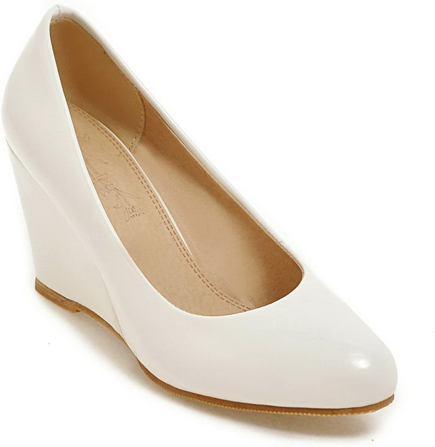 A&N Ladies Pointed-Toe Wedges Fashion Patent-Leather Pumps shoes