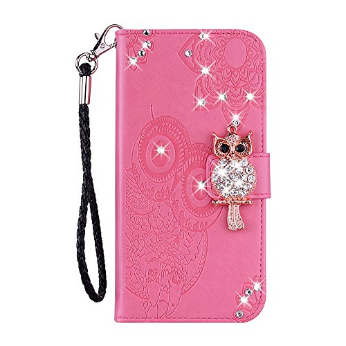 JZ [Diamond Owl PU Leather Flip Cover Compatible with Huawei Honor 6C PRO/Honor V9 Play Wallet Custodia with [Wrist Strap] - Rese Red