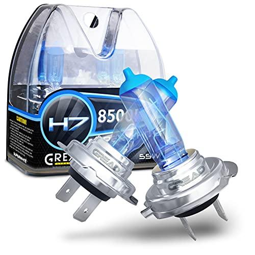 Gread - Lampe halogène H7 55W pour voitures, Apparence au xénon, 8500k super blanc, 2 pièces