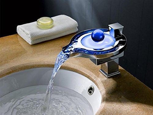 Lonfenner Led Farbtemperatur Wechselnde Warme Und Kalte Kupfer Wasserfall Bad Waschbecken Wasserhahn. Wasser Stromerzeugung - 3