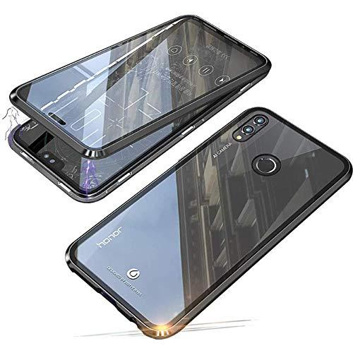 Cover per Huawei Honor 8X / Honor View 10 Lite Magnetica Adsorbimento Tecnologia 360 Gradi Protezione Bumper in Metallo Sottile Cassa Schermo Intero Prima e Dopo Trasparente Vetro Temperato Flip Case