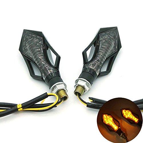 Heinmo Moto universel 14 LED clignotants indicateurs lumières LED en fibre de carbone boîtier Jaune objectif
