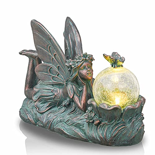 TERESA'S COLLECTIONS Large Fairy Garden Statue and Sculpture with Solar Powered Lights, Angel Figurine Resin Garden Art for Outdoor Yard Lawn Patio Decorations 12.8 inch (Bronze)
