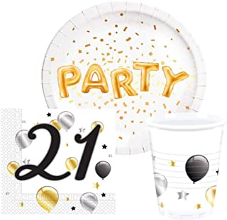 Repair Media de Shop ★ RM ★ Vajilla Desechable Party Juego Vasos de Papel Platos de servilletas (para 8 Personas (36 Piezas Fiesta temática 18 21 30 40 Birthday P172 ★ RM ★
